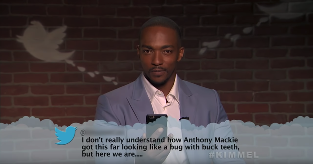 Here's Anthony Mackie, aka Falcon, figuring out what exactly he looks like.