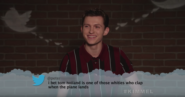 Here's Tom Holland, aka Spider-Man, who is so sweet that he probably DOES clap when the plane lands, TBH.