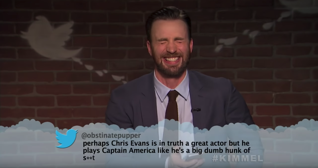 And here's Chris Evans, aka Captain America, reading a particularly mean review of Avengers: Infinity War.