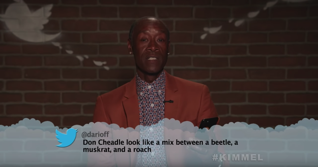 Here's Don Cheadle, aka War Machine, receiving his results for the Which Bug Are You? BuzzFeed quiz.