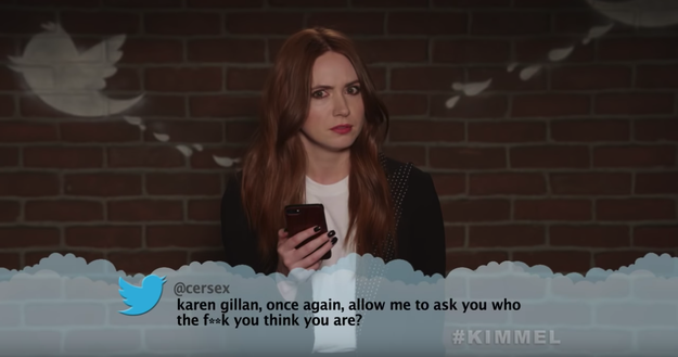 Here's Karen Gillan, aka Nebula, being asked the existential questions.