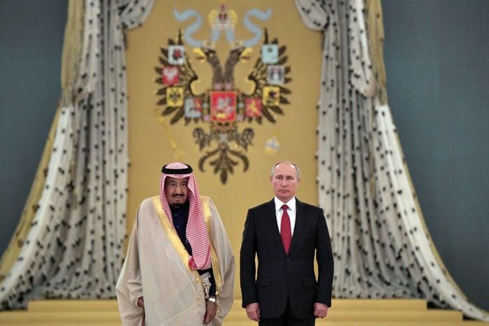 Russian President Vladimir Putin and Saudi Arabia's King Salman bin Abdulaziz al-Saud ahead of their talks at the Kremlin in Moscow, Oct. 5, 2017.