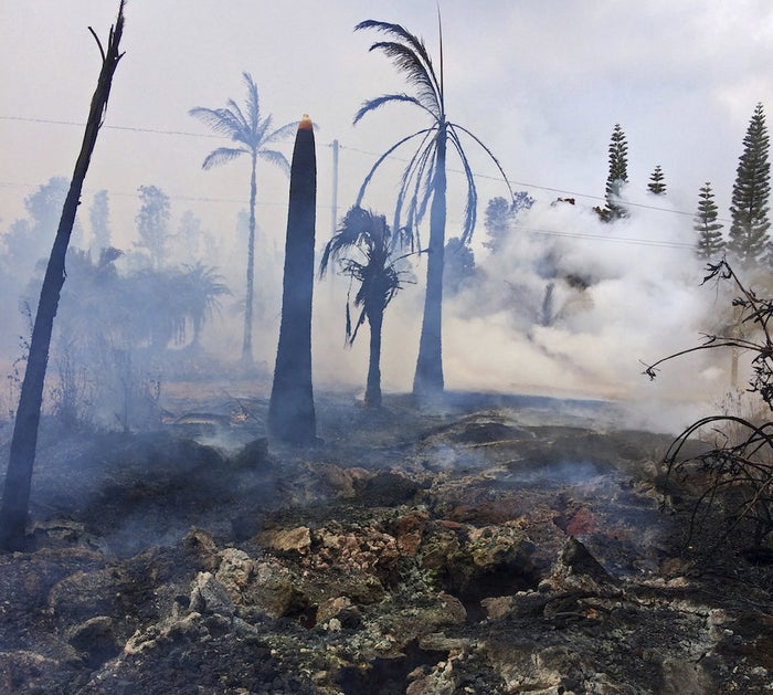 Severe cracks related to a lava fissure show beneath a burned-out landscape in Leilani Estates on Hawaii's Big Island Wednesday.