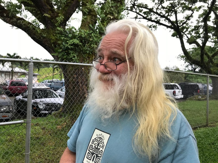 Steve Clapper stands outside an evacuation shelter at the Pahoa Senior Center after leaving his home in Leilani Estates amid ongoing volcano eruptions.