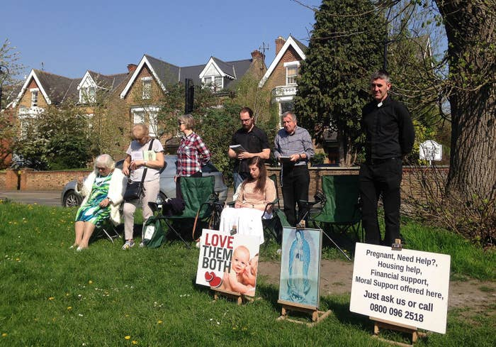 Anti-abortion protesters at the Marie Stopes clinic in Ealing.