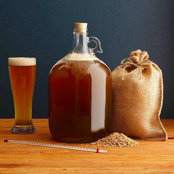 This kit includes a gallon glass fermentor, air lock, rubber stopper, transfer tube, tube clamp, racking cane, thermometer, funnel, malt extract, specialty grains, hops, yeast, sanitizer, a grain bag, and instructions. Get it from Uncommon Goods for $45 or get a similar kit from Amazon for $48.