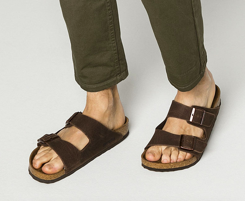 Just have a stern talk with him about socks and sandals beforehand. Get them from Birkenstocks for $99.95 (available in two colors and sizes 6–13, wide or narrow) or get a similar pair from Amazon for $90+ (available in three colors and 11 sizes).