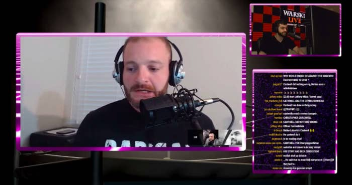 White nationalist Christopher Cantwell being interviewed on the popular Warski Live YouTube channel.