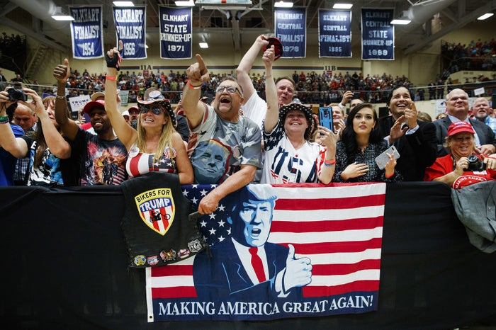 The crowd cheers as Vice President Mike Pence introduces President Donald Trump at the North Side Gymnasium in Elkhart, Indiana, on May 10, during a campaign rally.