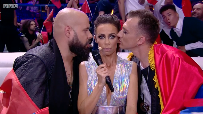 When a host talked to the Serbian contestants in the green room.