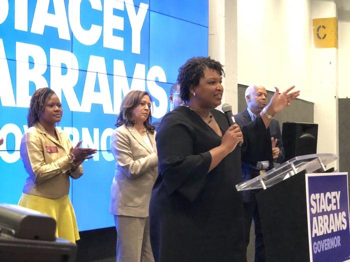 Georgia gubernatorial candidate Stacey Abrams introduces Sen. Kamala Harris.
