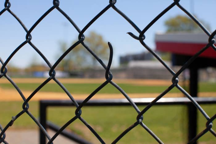 The chain-link fence is still broken after being struck by bullets fired at GOP members during their charity baseball practice almost a year ago at Eugene Simpson Stadium Park in Alexandria, Virginia.