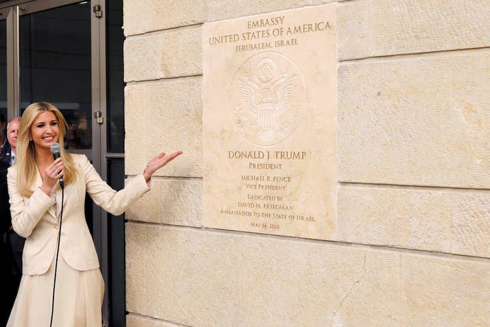 Senior White House Adviser Ivanka Trump gestures as she stands next to the dedication plaque at the U.S. embassy in Jerusalem, during the dedication ceremony of the new U.S. embassy in Jerusalem