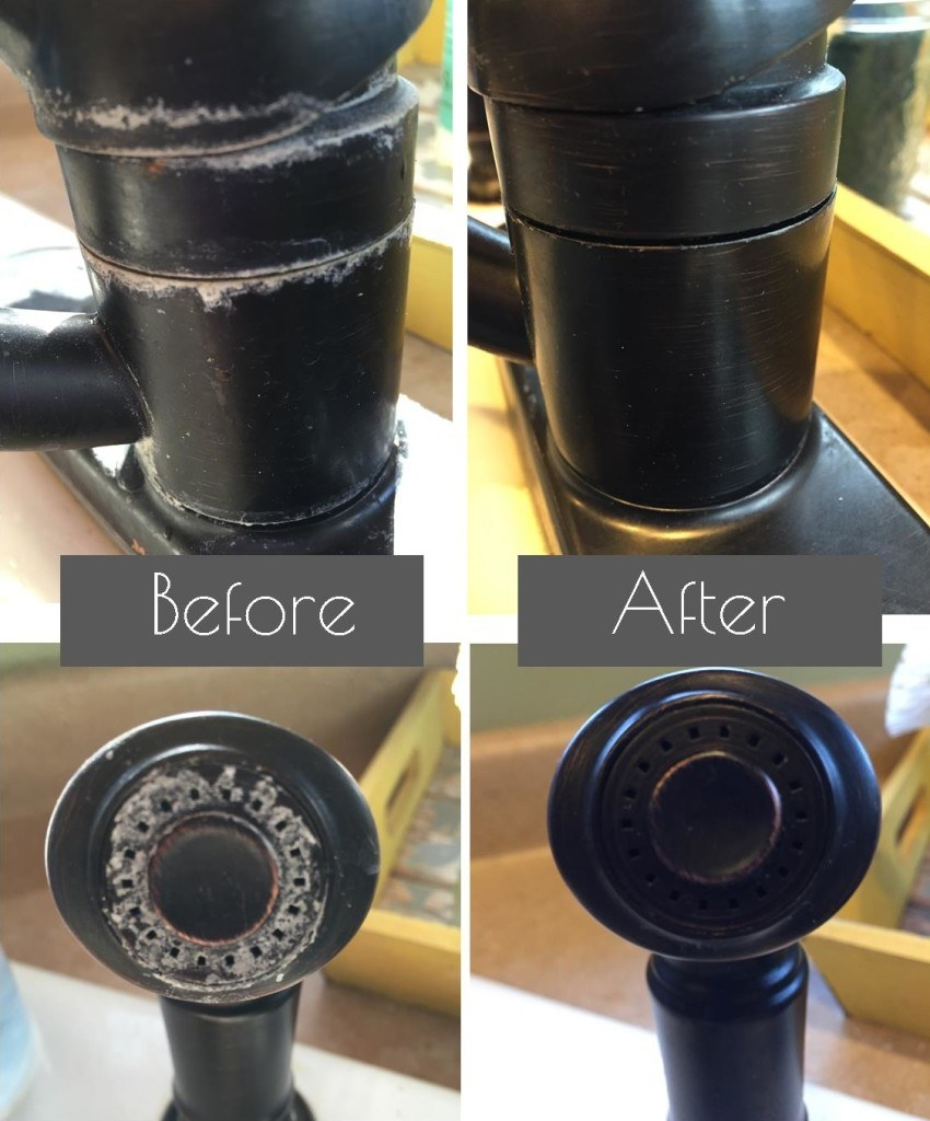 Before: the blogger's oil-rubbed-bronze faucet, caked with white hard water stains. After: the same faucet, no water stains in sight