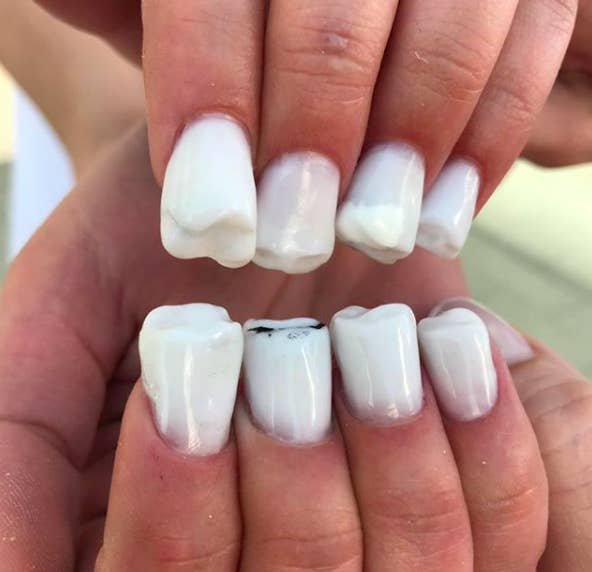 This Nail Art Looks Like Actual Human Teeth And Its Bizarrely