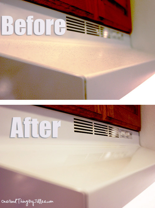 before: dusty white range hood and after: clean hood with no dust in sight