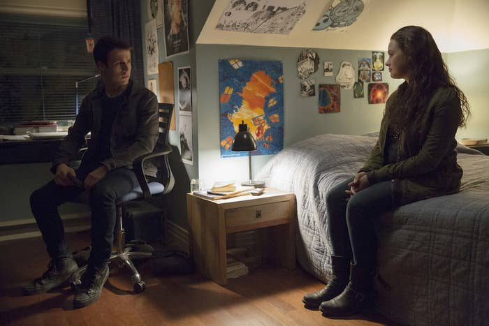 Clay Jensen (Dylan Minnette) and Hannah Baker (Katherine Langford) in 13 Reasons Why Season 2.