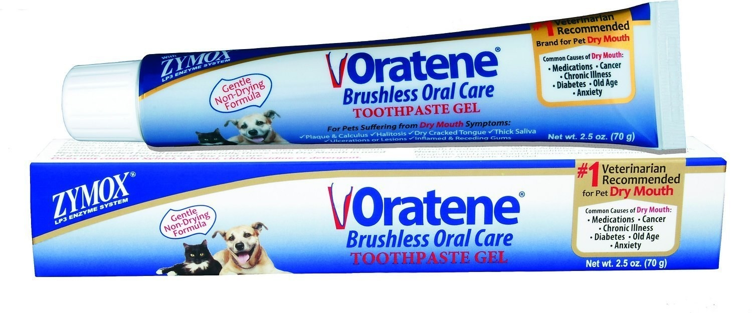 """The toothpaste is safe for dogs and cats.Promising review: """"This stuff is a miracle. One of our two dogs has especially bad halitosis. We paid over $200 getting his teeth cleaned about two months ago and was stinky again. I resorted to brushing and got nowhere but wrestling a 9 lb. dog. This is a brushless toothpaste as advertised. When it arrived the other day, used it on both dogs. Honest to god, both dogs have fresh, puppy breath and tolerate it wonderfully. Apparently dogs get very dry mouths and this eliminates that AND the bad breath."""" —PetuniaGet it from Amazon or Chewy for $13.05."""