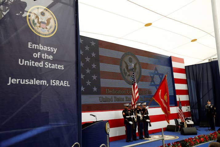 U.S. marines take part in the dedication ceremony of the new U.S. embassy in Jerusalem