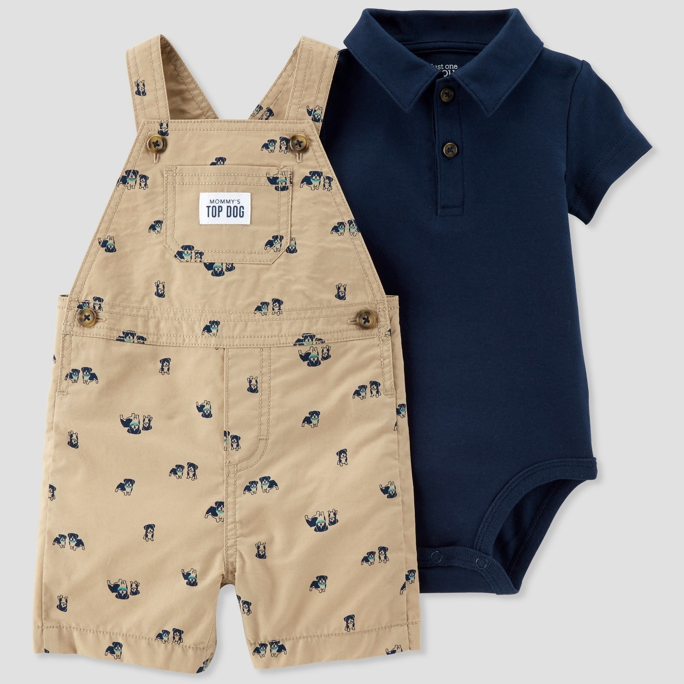 Get the set (including overalls and collared onesie) from Target for $12.99 (available in sizes NB-24).