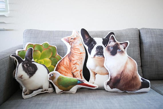 """Here's how to customize: When you receive a confirmation message of your purchase, you'll send the seller a picture of your muse, aka pet. A proof will be sent to in one to two days, you approve, and then they make this work of art! It's printed on high-quality eco canvas. Plus it's machine washable!Promising review: """"I had a pillow made for a very dear friend for Christmas. It looked AWESOME. Suzie made it happen for me. She was great to work with. She looked at my photo first to make sure it would work as a pillow.It was all-around excellent service and a super-fun gift idea. I would definitely do this again. Thanks Suzie!"""" —Kathy AschoffGet it from Auré Spaces on Etsy for $38.95+."""