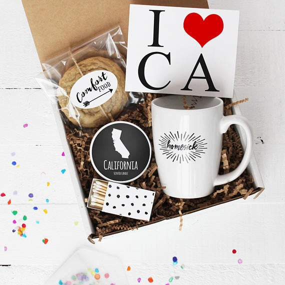 """Just tell the seller which state you'd like to choose! It comes with scented wax candle, handmade chocolate chip cookies, and a ceramic hand-printed mug.Promising review: """"I gave this to my cousin because she's been feeling a little down and this made her happy cry! She loved it so much!"""" —alyssamalloy08Get it from Confetti Gift Company on Etsy for $36."""