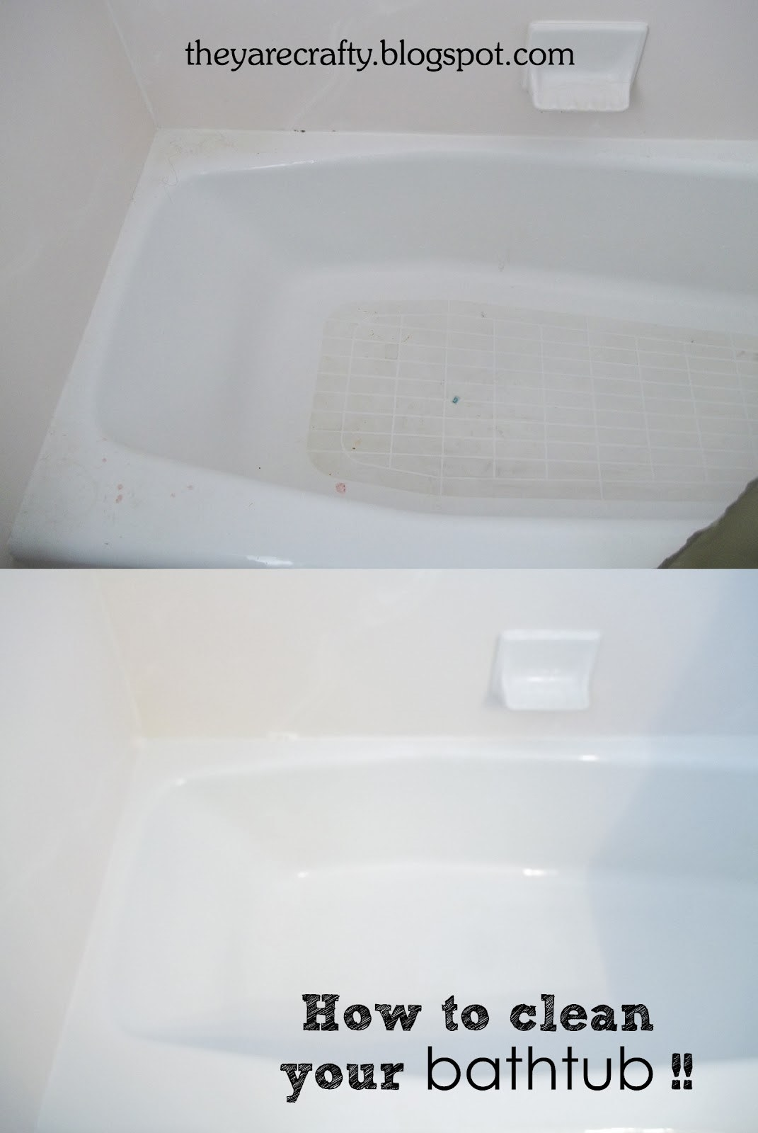 A blogger's before and after photos, where the tub first looks grimy, then looks bright white and clean