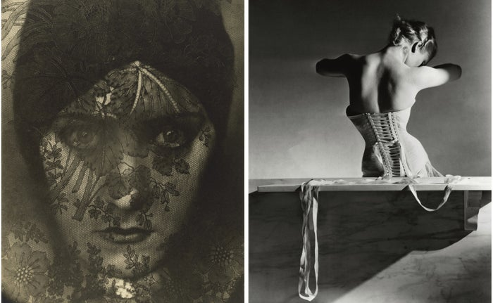 "Left: ""[Gloria Swanson],"" 1924. Right: ""The Mainbocher Corset,"" Paris, 1939."