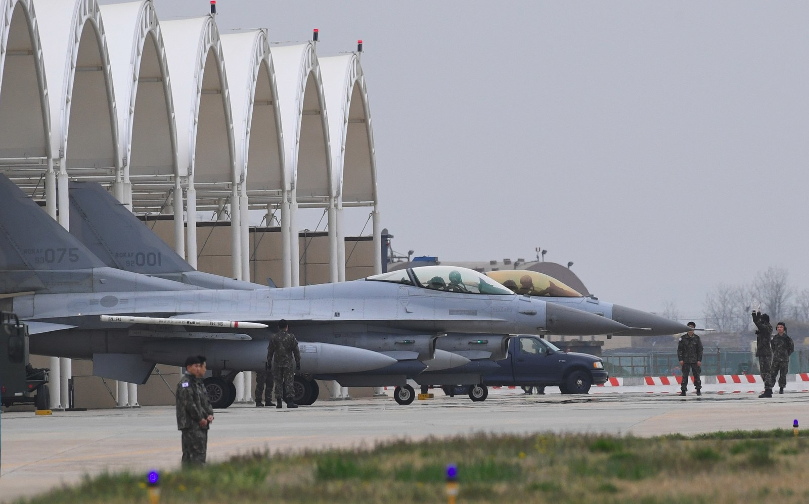 "South Korean KF-16 jet fighters prepare for takeoff during the ""Max Thunder"" South Korea–US military joint air exercise in 2017."