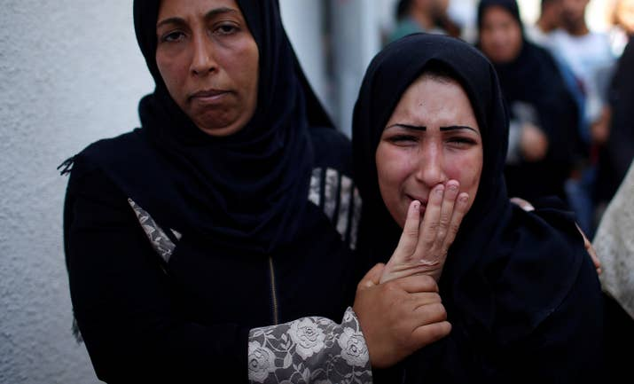 The mother of 8-month-old Palestinian infant Laila al-Ghandour at her funeral in Gaza City. Laila reportedly died after inhaling tear gas during a protest at the Israel-Gaza border.