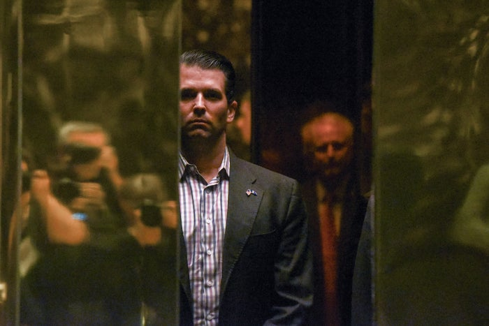 Donald Trump Jr. arrives at Trump Tower in New York City, Jan. 18, 2017.