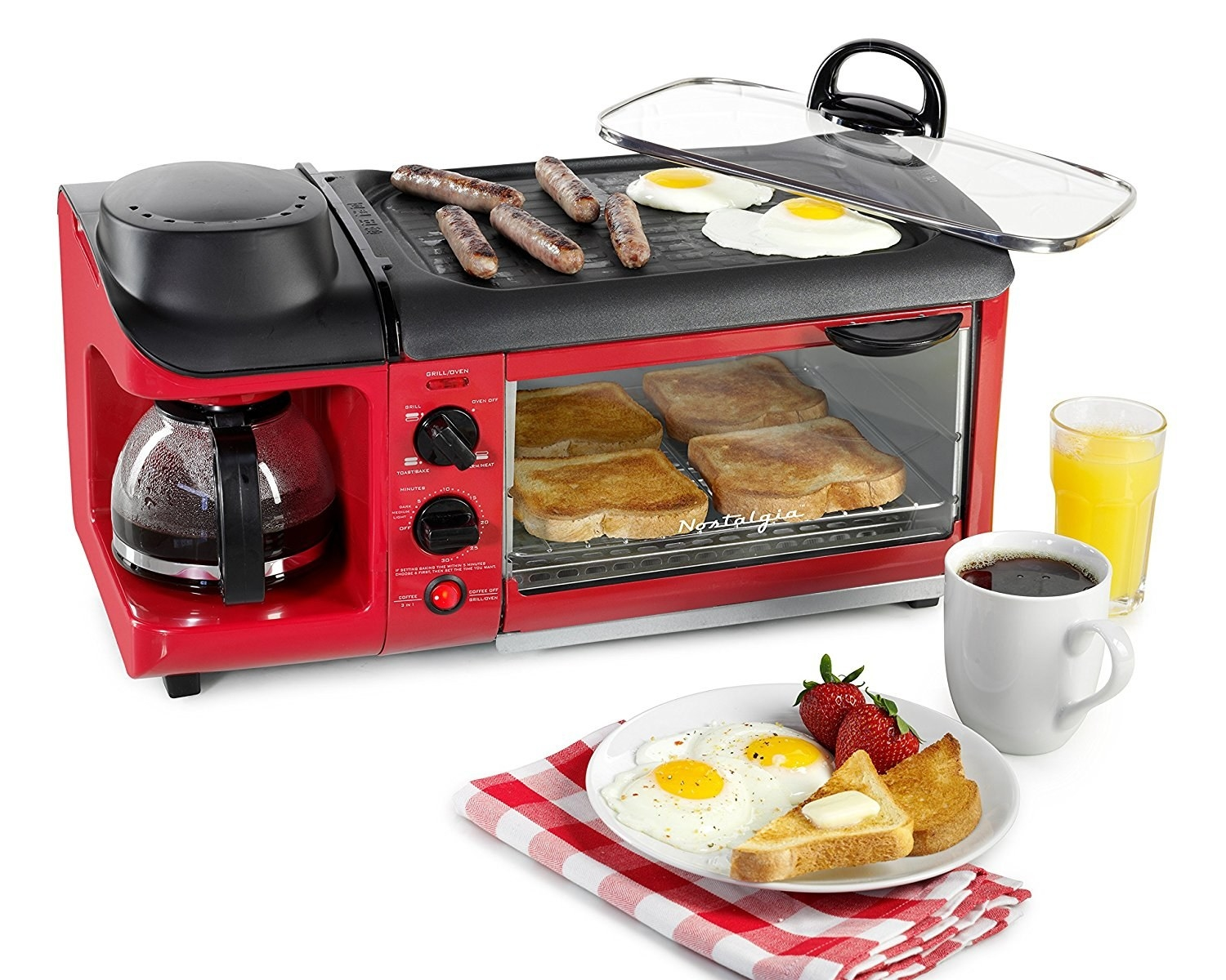 the breakfast station in red