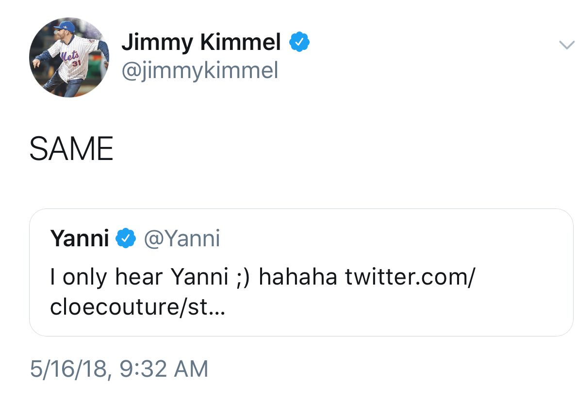 Jimmy Kimmel: Yanny, FTW.