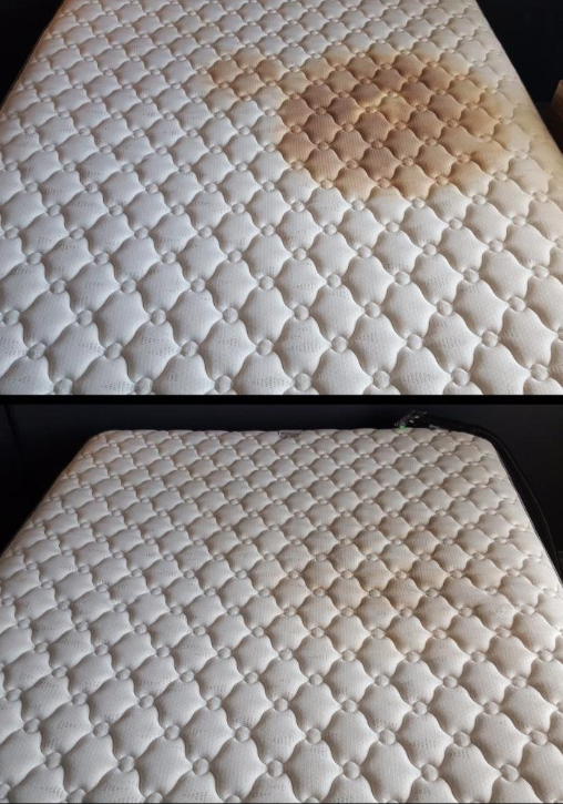 A reviewer's before: mattress with a giant brown stain on it, and after: the same mattress, with the stain significantly faded (but not entirely gone)