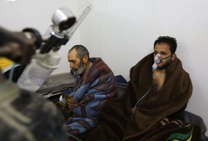 Syrians reportedly suffering from breathing difficulties Syrian regime airstrikes on Saraqib, in Idlib province, in February.
