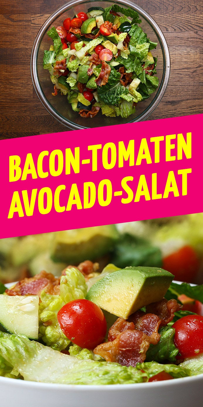 ZUTATEN8 Bacon-Streifen1 Kopf Romanasalat2 Handvoll Cherrytomaten1/2 Gurke2 Avocados4 EL Oliven Öl2 EL Balsamico-Essig1 TL Senf1 TL SalzSaft einer Zitrone