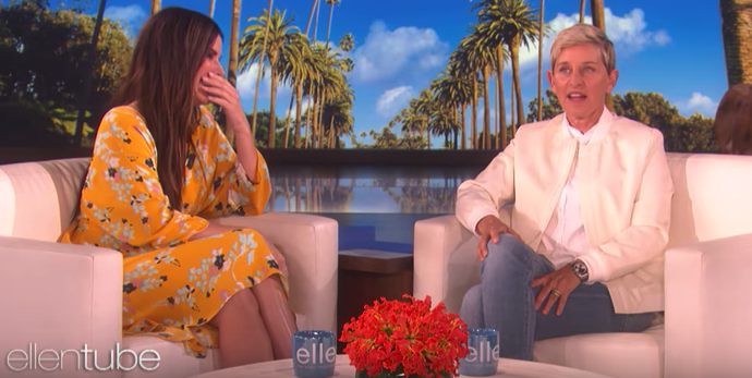 Yep, Sandra gets penis facials, which, according to Ellen's explanation, is a facial that uses a serum made from the foreskin of Korean babies. I'm probably just as confused as you are right now.
