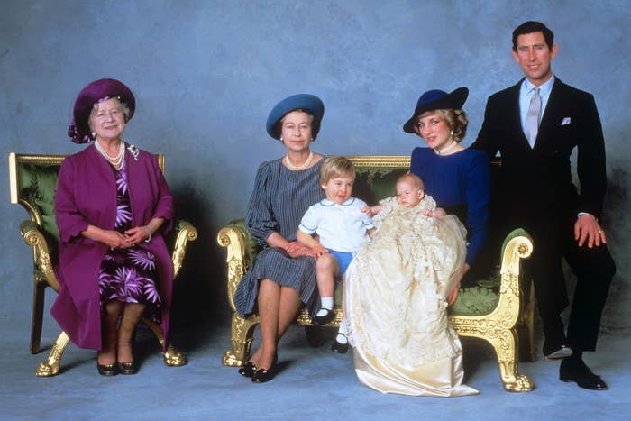 Three-month-old Prince Harry sits for a formal portrait with the Prince and Princess of Wales, his older brother, Prince William, and the Queen and Queen Mother, Dec. 21, 1984.
