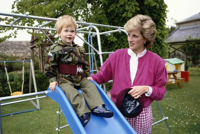 Diana, Princess of Wales, and her son Harry in Gloucestershire, England, July 18, 1986.