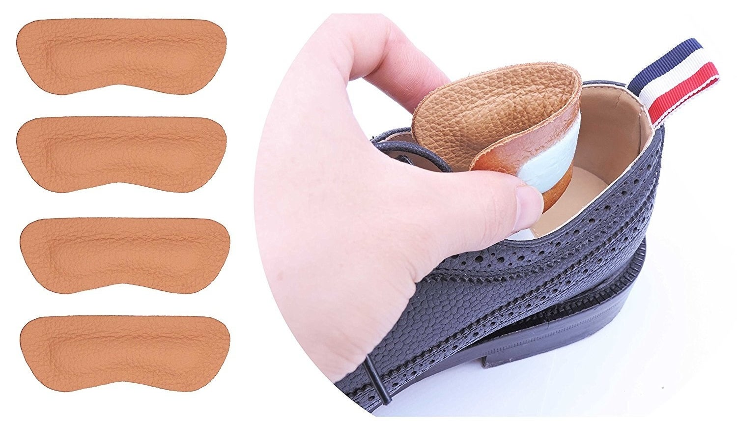 heel protector being put into heel of a shoe