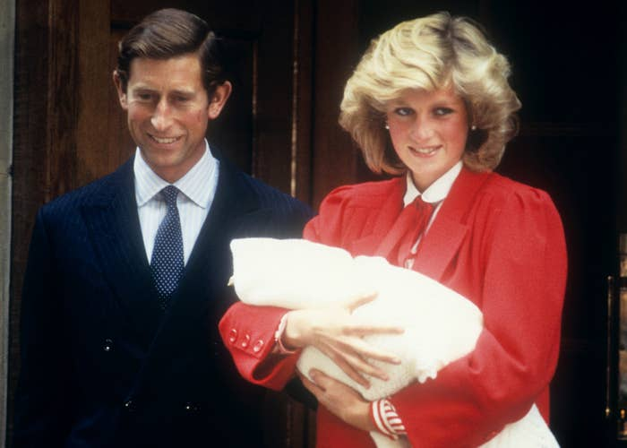 The Prince and Princess of Wales leave the hospital with their new baby, Prince Harry, Sept. 15, 1984.