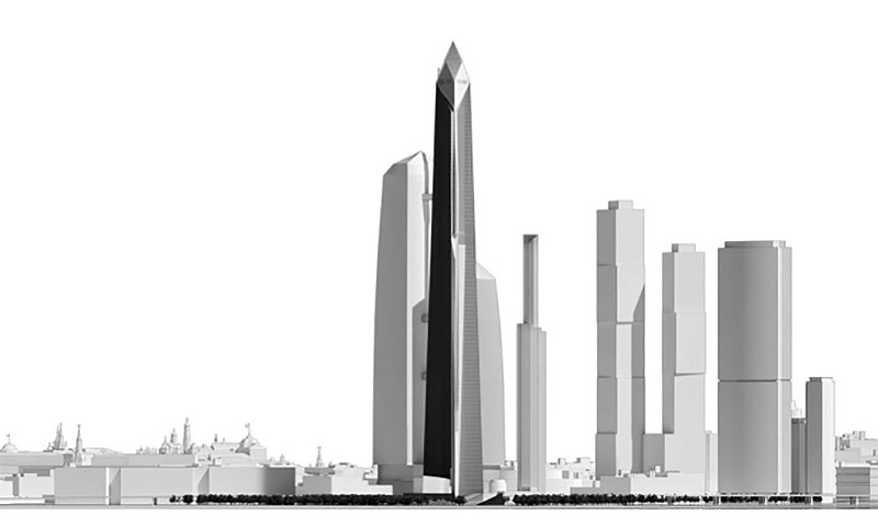 An architectural rendering of the proposed Trump Tower in Moscow.