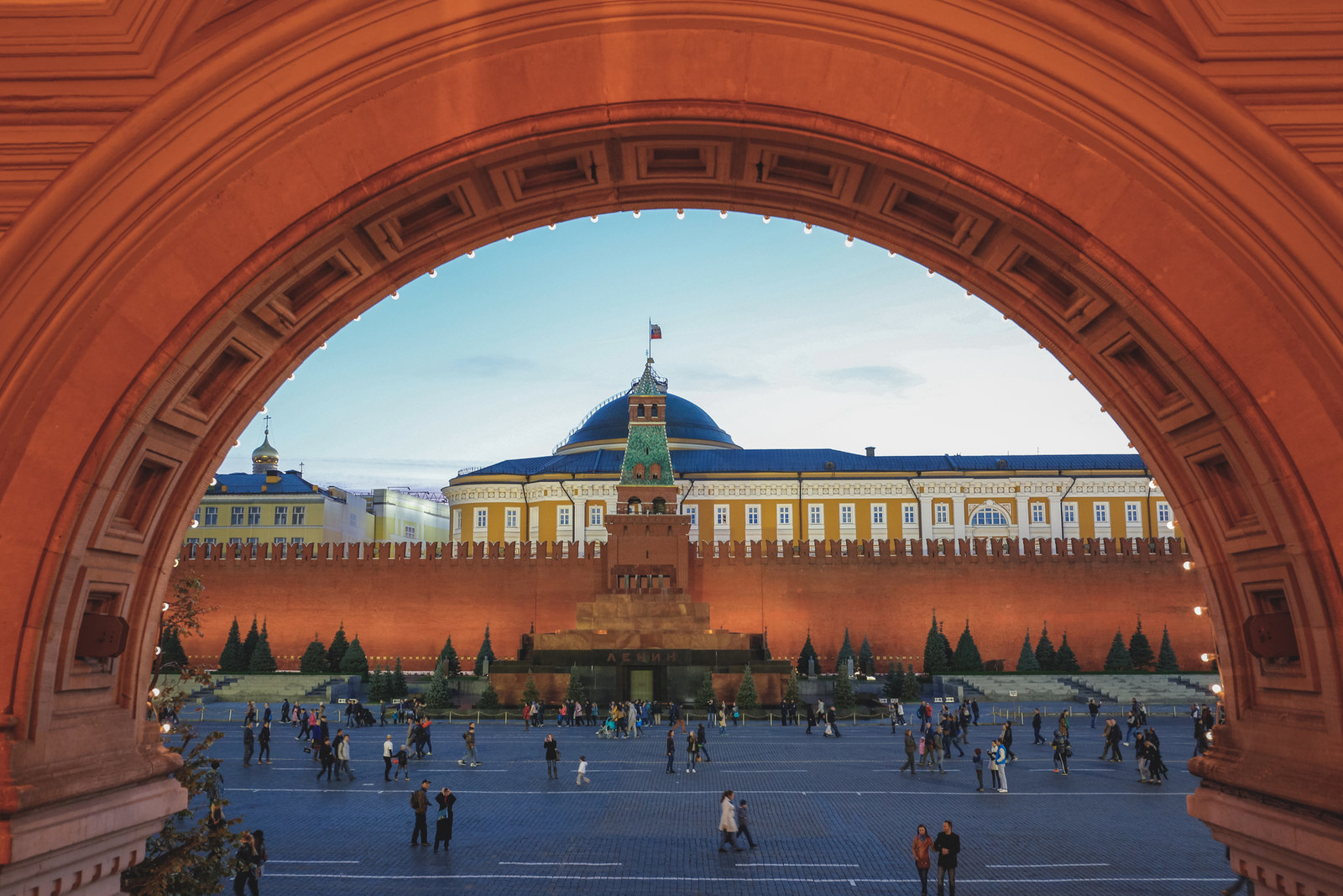 View of the Lenin mausoleum and the Kremlin.