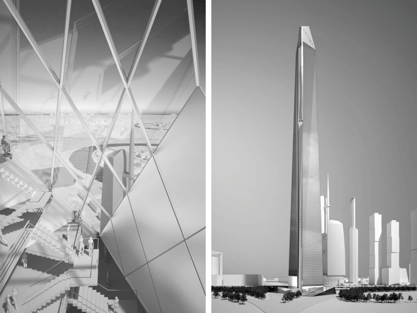 Architectural renderings of the proposed Trump Tower in Moscow.