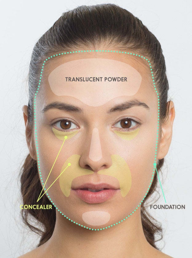 The guide mapped out on a model's face
