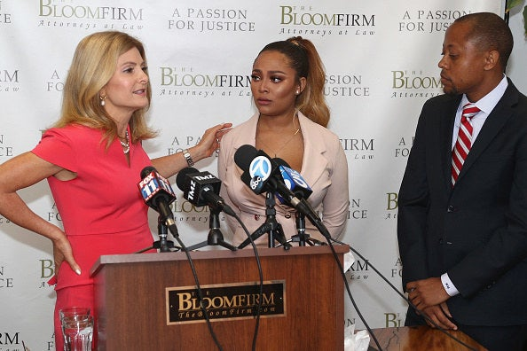 Attorneys Lisa Bloom (left) and Walter Mosely hold a press conference with their client, Teairra Mari, about new legal action against rapper 50 Cent and Akbar Abdul-Ahad.