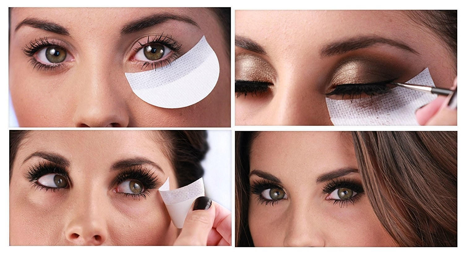 A diagram showing how to use: stick it on, apply shadow and liner, then remove