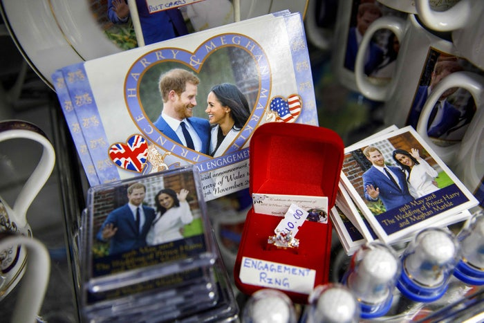Souvenirs featuring Britain's Prince Harry and Meghan Markle are pictured in a gift shop in Windsor.