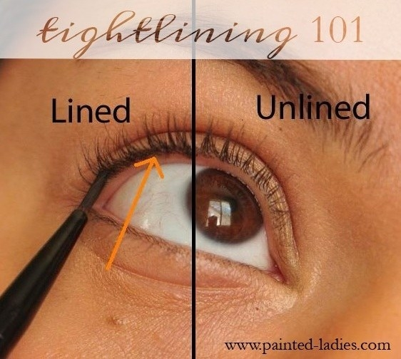 An image showing the difference between tightlined eyes and non-tightlined eyes, wit h the tightlined part looking like it has thicker, more full eyelashes