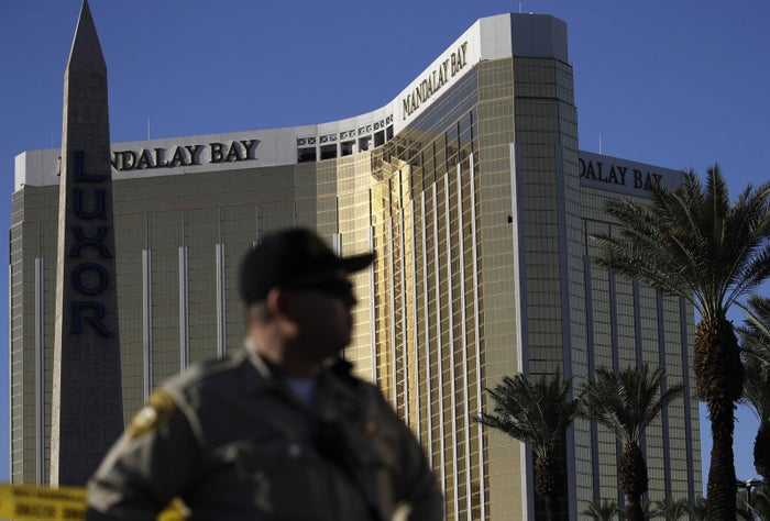 The broken window of shooter Stephen Paddock's room is visible at the Mandalay Bay Resort and Casino on Oct. 3.